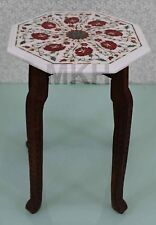 table bedside white furniture stand bedroom marble inlay work