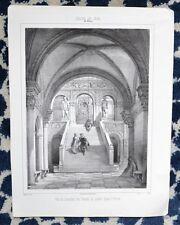 Lithographie XIX ème - Vue de l'escalier des Géants au Palais Ducal à Venise