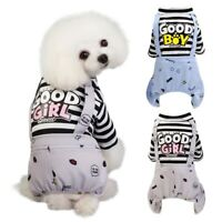 Small Dog Striped Cotton Clothes Puppy Jumpsuit Pyjamas Pet Cat Coat Costumes