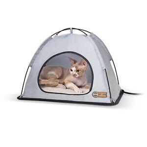 KH Mfg Thermo Cat Pet Tent House HEATED Gray MEDIUM