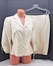 Maggie London Alabaster Mother of the Bride Silk Suit. Size 8.  Jacket & Skirt.