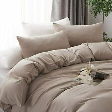 3 Pieces Ultra Soft 100% Washed Microfiber Duvet Cover Set Taupe