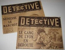 2 1948-49 PUBLICATIONS - DETECTIVE - LE GRAND HEBDOMADIRE DES FAIT DIVERS