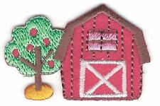 "1 1/8"" x 1 5/8"" Country Red Barn Farm with Apple Tree Embroidery Patch"