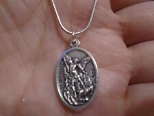 St Michael Archangel Medal ITALY on 925 Sterling Silver Snake Chain Necklace