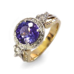 3.4 ctw Natural Violet Tanzanite & Diamond Solid 14k 2-Tone Gold Engagement Ring