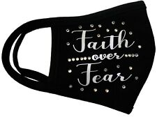 Face Mask Faith Over Fear Vinyl And Rhinestones Double Layer Cotton. Made in Usa