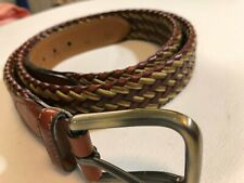 Trafalgar Belt 40 Woven Leather Brown Mens Two Tone