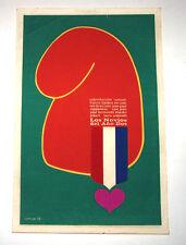 """1972 Original Cuban Movie Poster""""Novios Año 2""""Belmondo.Jean Paul Rappeneau"""