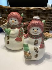 Bico China Vintage Snowman Teapot Pitcher And Smaller Matching Planter
