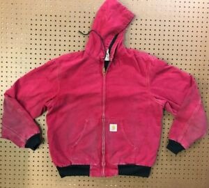 MENS LARGE - Vtg Carhartt Duck Thermal Lined Hooded Jacket
