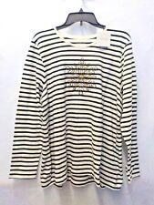 Womens 3X Croft & Barrow White/Black Striped Snowflake Longsleeve Tee Nwt #10791