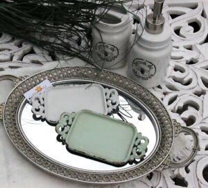 Clayre & Eef Seifenschale Metall Mini Tablett Vintage  weiß
