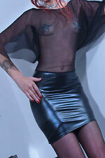 Latex Faux Look / See Through Mesh Dress Lace Up Back