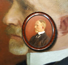 Biedermeier Herrenportrait. Mahagoni Ovalrahmen. Ölgemälde Signiert GROHNINGER