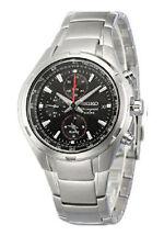 Seiko Alarm Chronograph SNAE41P1 Men Black Dial Stainless Steel 100m Watch