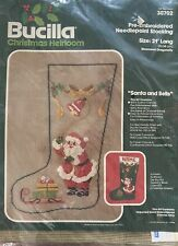 Bucilla Vintage Pre-Embroidered Needlepoint Stocking Santa,Bells,Sleigh Heirloom