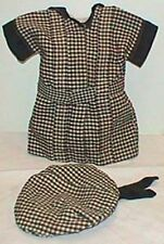 Black plaid antique French doll dress with hat