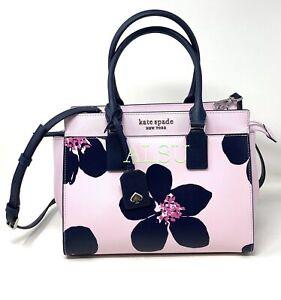 Kate  Spade Medium Satchel Cameron Grand Floral Leather Purple Black WKRU6738