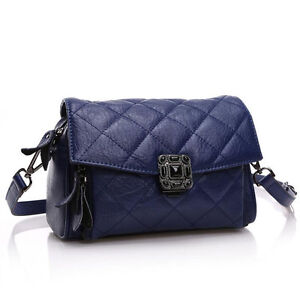 Luxury Brand Bright Shining Stones Design Leather Quilted Messenger Bag NEW $140