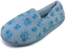 Moonbeams Womens Light Blue Floral Micro Terry Slippers Spring Foam Cushion