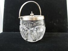 """Large 5 In High 5"""" Diameter Biscuit Jar Plated Silver Lid Mid Century 1126"""
