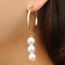 Women Pearl Earrings Ear Stud Long Drop Dangle Jewelry Fashion For Wedding Bride
