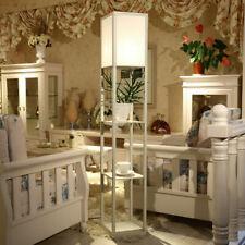 3-Tier Shelf Floor Lamp with Shade Free Standing Standard Light Storage White