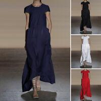 Plus Size Women Casual High Low Long Dress Club Short Sleeve Loose Maxi Sundress