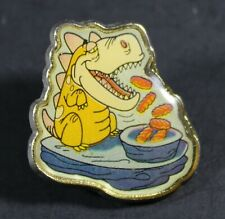 1994 Hanna Barbera The Flintstones FEEDING DINO silver trim pin 2.5 x 2.5 cm HTF
