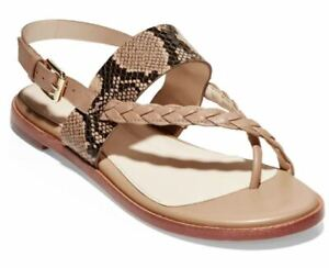Cole Haan Grand0S Women 6.5 Anica Beige Python Leather Flat Thong Sandals Shoes