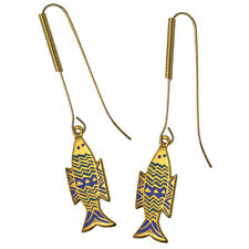 Gold And Blue Fish Drop Earrings