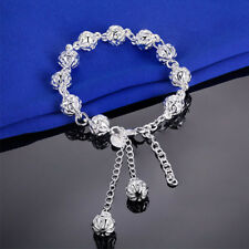 Elegant Jewelry Bracelet Hollow Beads Chain Hand Pedant Bangles Silver Plated