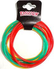 Pack of 12 Hippy Rasta Gummy Bracelets Wristbands Bangles Mens Womens Boys Girls