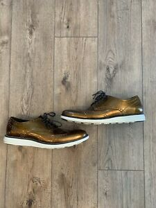 Cole Haan Grand OS Mens Size 11 Bronze Lace up Oxford Shoes C23392