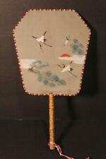 Vintage Oriental Birds Wooden Handle Silk Paddle Hand Fan