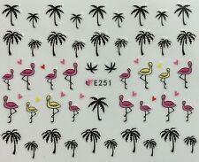 Nail Art 3D Decal Stickers Palm Trees Flamingos Tropical E251