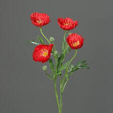 Mohnblumenzweig 56cm rot DP Kunstblumen Seidenblumen künstlicher Mohn