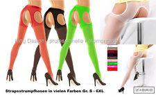 Straps-Strumpfhose - Gr. S - 6XL - in vielen Farben (auch NEON), 20 DEN