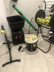 tennis ball machine with accessories