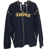 Vintage St Louis Rams NFL Football Hoodie Full Zip Blue Sweatshirt 3XL
