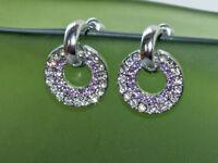 Ohrstecker Ohrringe mit Kristallen von Swarovski Lila Silber Creolen  SR15