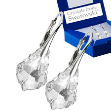 925 Sterling Silver Earrings Baroque Crystal Clear Crystals From Swarovski