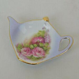 Victoria's Garden Porcelain Teapot Shaped Tea Bag Spoon Rest Purple w/Flowers