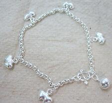 925 Sterling Silver Plain 5 Double Love Heart & Bell Ball Sound Belcher Bracelet