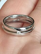 18ct White Gold Single Diamond Wedding Band Size N 1/2