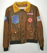 Airman Mens Size XL Lightweight Bomber Long Sleeves Brown Faux Leather Jacket