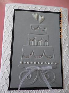 Handmade Wedding or Anniversary Card Ambossed Pearls Stampin Up 3D Bling Ribbon