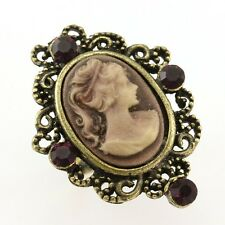 Antique Gold Vintage Style CAMEO Ring Dark Purple Crystal Stone Lady Size Free C