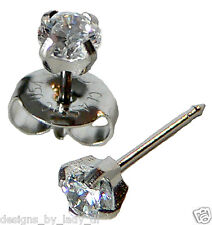 4mm Clear Round Cubic Zirconia CZ Silver Ear Piercing Earrings Studex System 75
